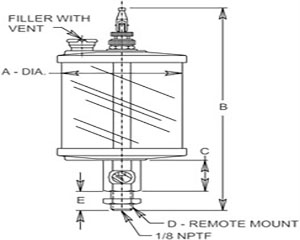 Reservoirs - Drop Feed Straight Thread / Remote Mount