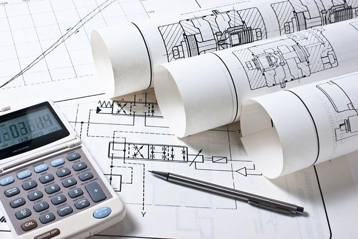 Image of calculator and technical drawings